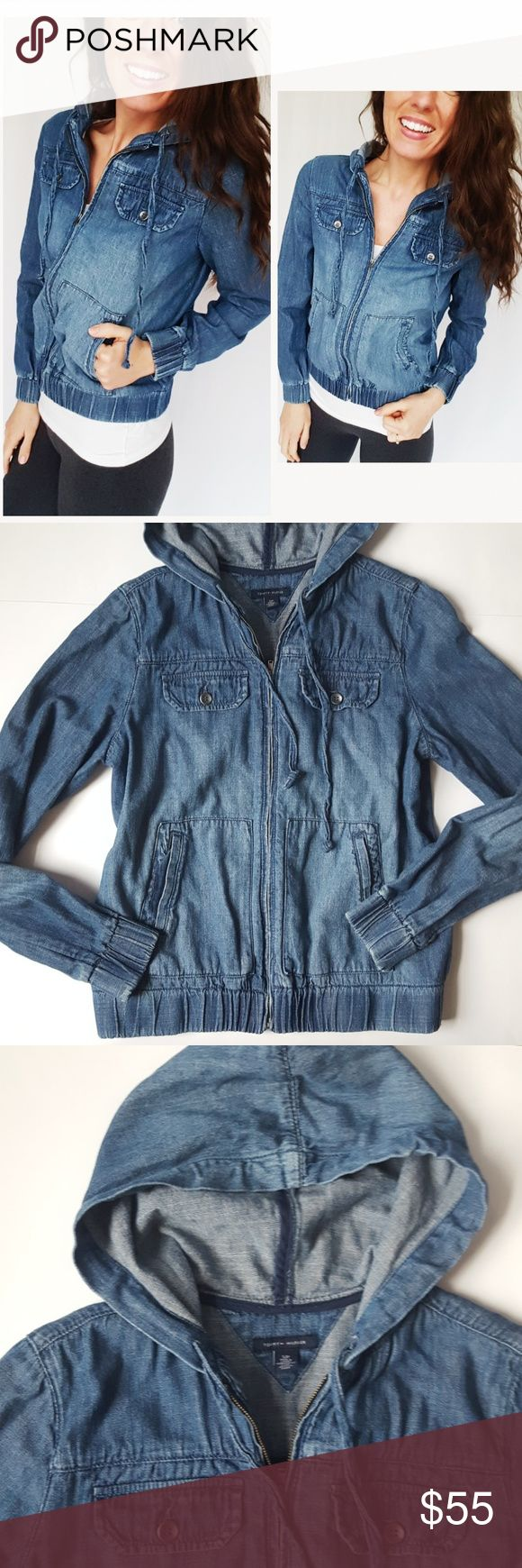 SALE! Tommy Hilfiger denim zip up bomber jacket-D5 In good condition! Tommy Hilfiger denim zip up hoodie jacket, size small. Loose fit and 100% cotton. Used item: pictures show any signs of wear. Inspected for quality. Bundle up! Offers always welcome:)  Check out my husband's closet: @kirchingeraaron Tommy Hilfiger Tops Sweatshirts & Hoodies