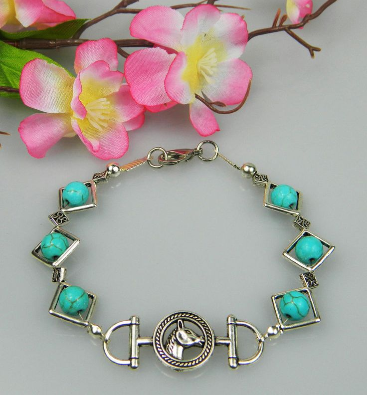 HORSE JEWELLERY BRACLET BLUE TURQUOISE GEMSTONES WITH HORSE DESIGN BRAND NEW #3