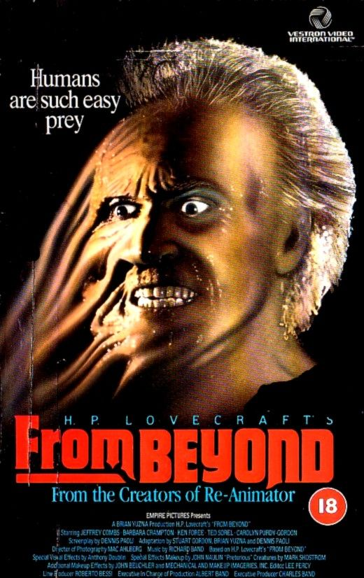 From Beyond (1986) is a great little horror move directed by underrated horror director Stuart Gordon. It's based on a short story by HP Lovecraft and concerns a crazy scientist alter his consciousness in order to experience life in a different level.