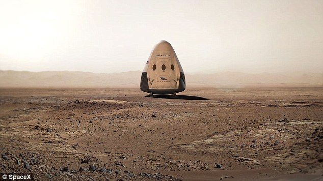 SpaceX's Mars Colonial Transporter was initially being developed to carry astronauts and supplies to the surface of Mars to set up a base there. This image shows an artist's impression of a SpaceX capsule on the surface of the red planet