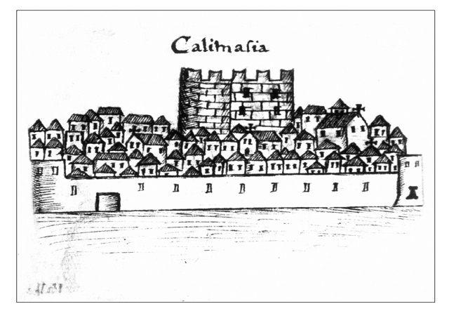Εικ. 10. Η οχυρωμένη Καλλιμασιά με τον αμυντικό πύργο στο κέντρο του οικισμού