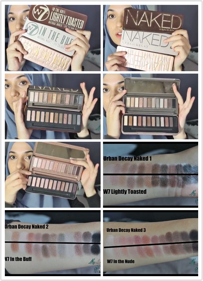#UrbanDecay vs #W7 Palettes Naked Palette DUPES  Naked 1 = W7 Lightly Toasted Naked 2 = W7 In the Buff Naked 3 = W7 In the Nude