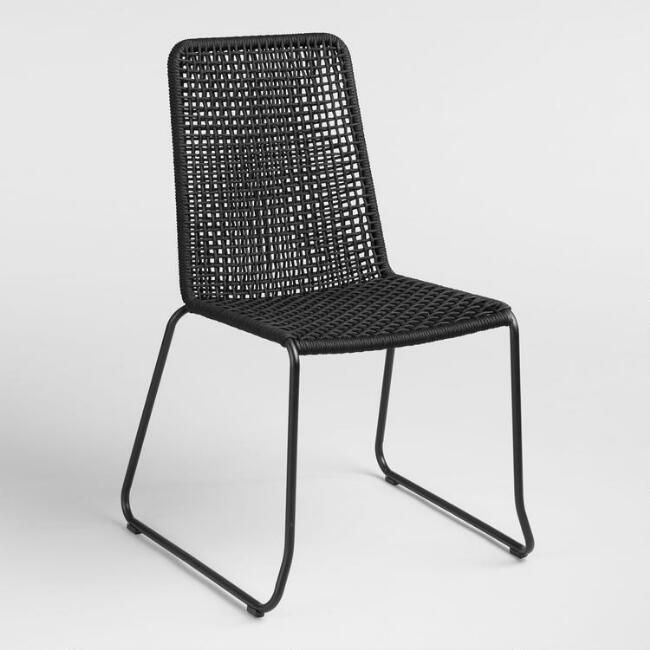 Black Nautical Rope Reeves Dining Chair Set of 2 - v1