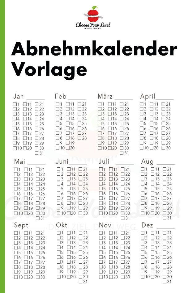 Abnehmkalender Vorlage Choose Your Level