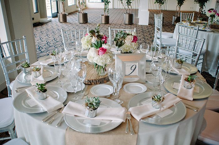 Beautiful rustic spring country club wedding decor