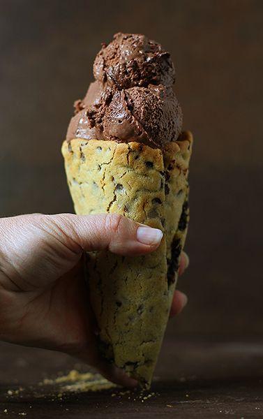 Homemade Chocolate Chip Cookie Ice Cream Cone ~ http://iambaker.net