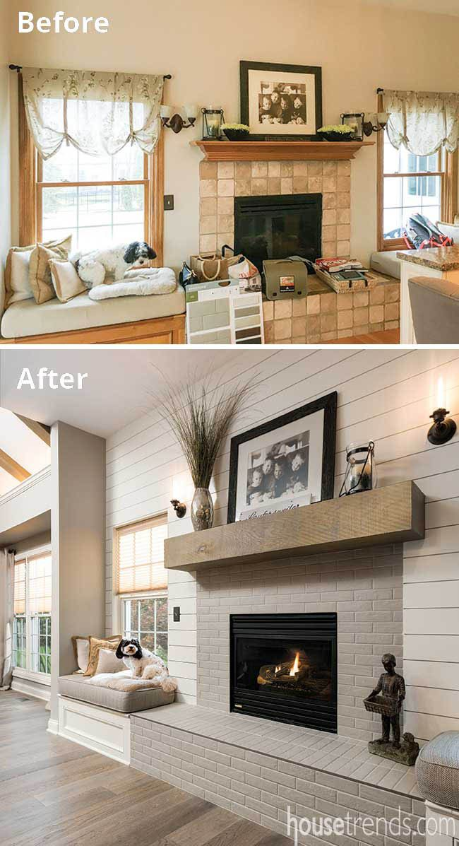 Living Room Interior Design Pdf: Window Seat Overlooks A Remodeled Fireplace In 2020