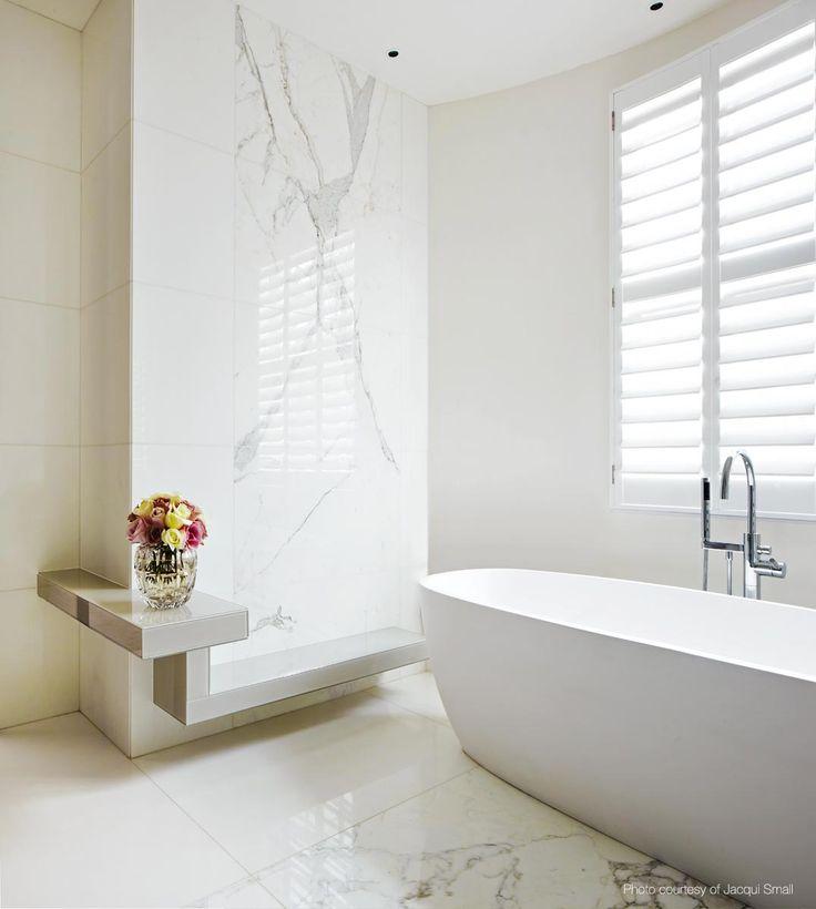Kelly Hoppen, The Family Home, London | white marble bathroom interiors