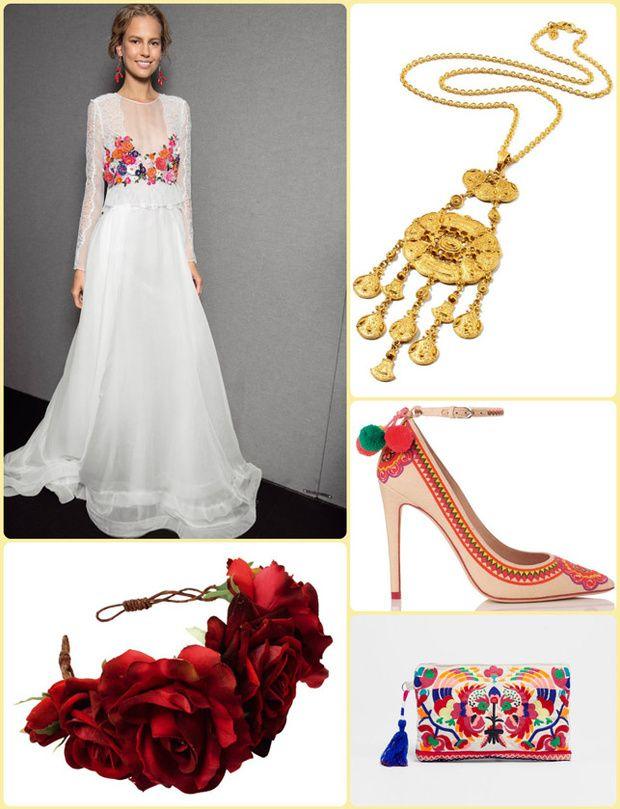 El romántico estilo de Frida Kahlo, los tonos flúor, las flores y los bordados multicolor con dibujos criollos protagonizan una boda de inspiración mexicana. ¡Viva México lindo!