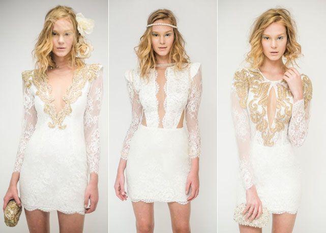Bordados prata e dourado iluminam os vestidos brancos de Patricia Bonaldi - Foto: divulgação