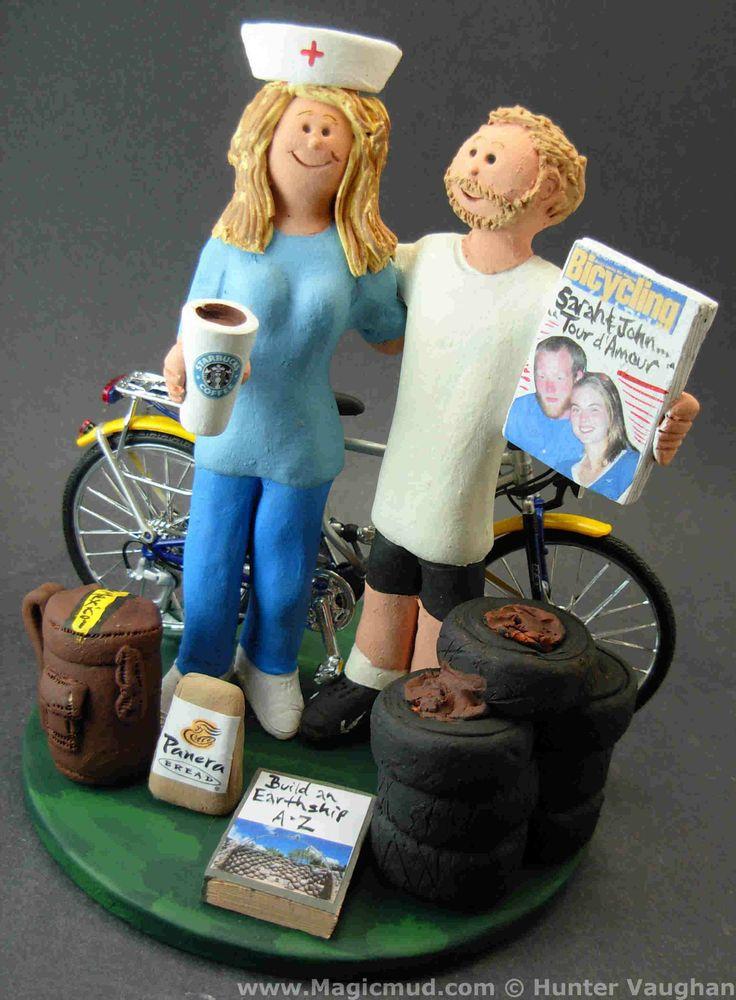 Bicycle Rider's Wedding Cake Topper by http://www.magicmud.com   1 800 231 9814  magicmud@magicmud.com  http://blog.magicmud.com  https://twitter.com/caketoppers         https://www.facebook.com/PersonalizedWeddingCakeToppers  #nurse#bicycle#bike#cyclist#mountain_bike#wedding #cake #toppers  #custom #personalized #Groom #bride #anniversary #birthday#weddingcaketoppers#cake toppers#figurine#gift#wedding cake toppers