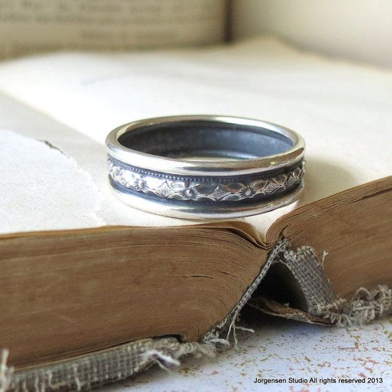 Mens Wedding Band Diamond Pattern Wedding Ring by jorgensenstudio, $78.00