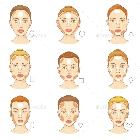 Strange Woman Face Type Vector Female Character Portrait Face Shape Natural Hairstyles Runnerswayorg