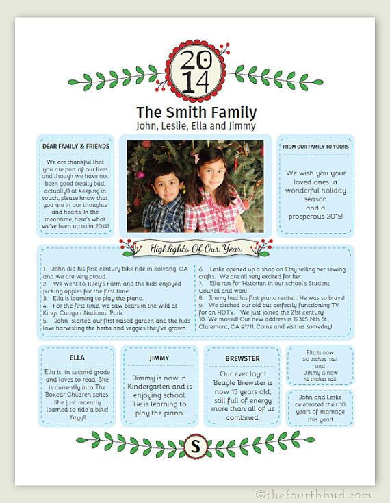Year In Review / Christmas Letter Template in PDF for Adobe Reader. This Newsletter / Year In Review template is in PDF form which makes it simple to write a Christmas letter or year in review. Just TYPE in your family's information, SAVE and PRINT.