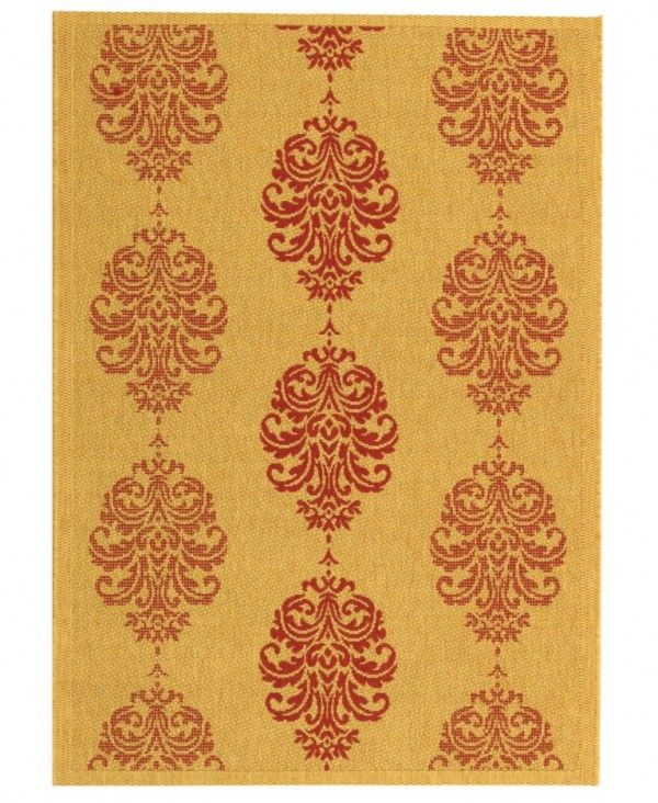 59% Off - MANUFACTURER'S CLOSEOUT! Safavieh Area Rug, Courtyard Indoor/Outdoor CY2720 Natural/Red 4' X 5' 7