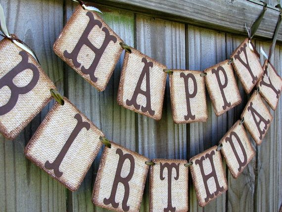 Burlap Happy Birthday Banner Rustic Party by theartofhandmades