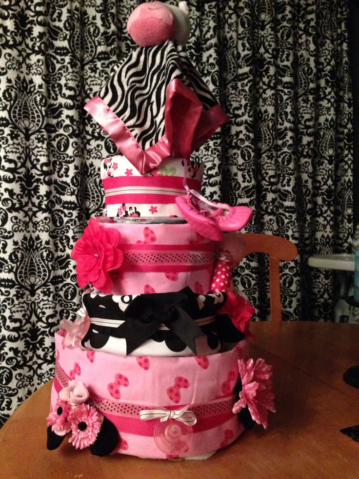 Diaper cake for baby girl pink black shower