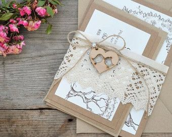 Rustic Wedding Invitation with Tree Lace by MelindaWeddingDesign