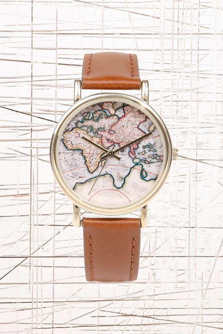 Uhr mit Weltkarte und Lederarmband in Hellbraun urban outfitters