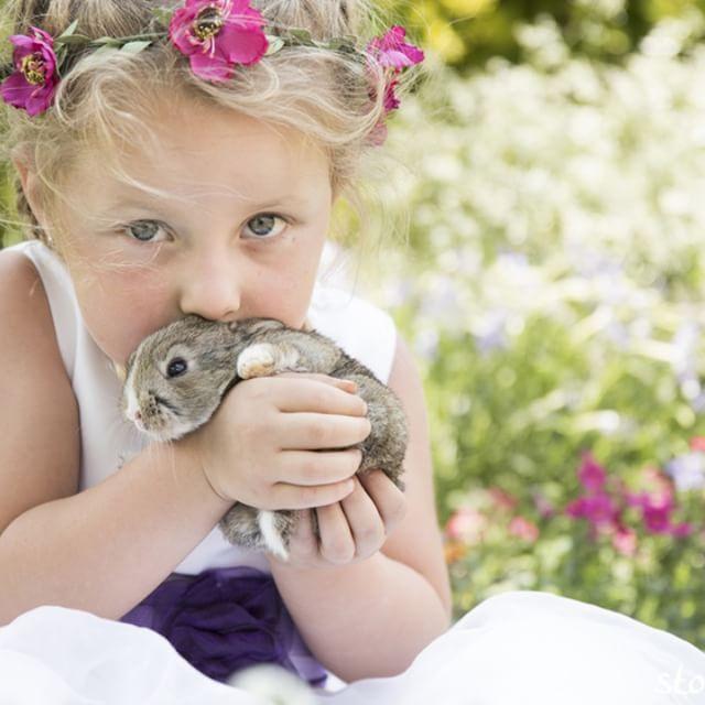 ♦ Fairy tale Styled Shoot ♦  #child #photography #rabbit #animals #cute #littlegirl #dress #flowers #flowercrown #style #stokerstudio
