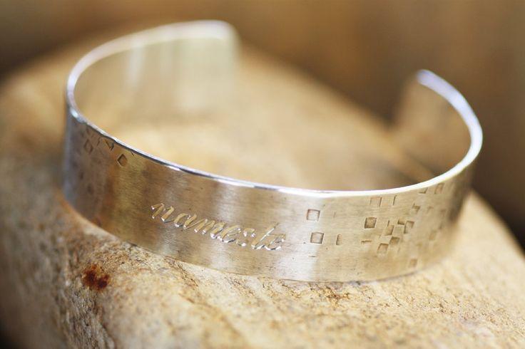 Men's Silver Bracelet/ Sterling Silver Cuff/Engraved bracelet/ Women Silver…