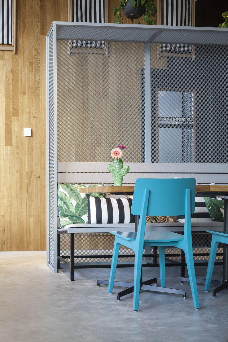 Interior design restaurant The Pool Groningen; design by Ninetynine #restaurant #beach #blue #wood