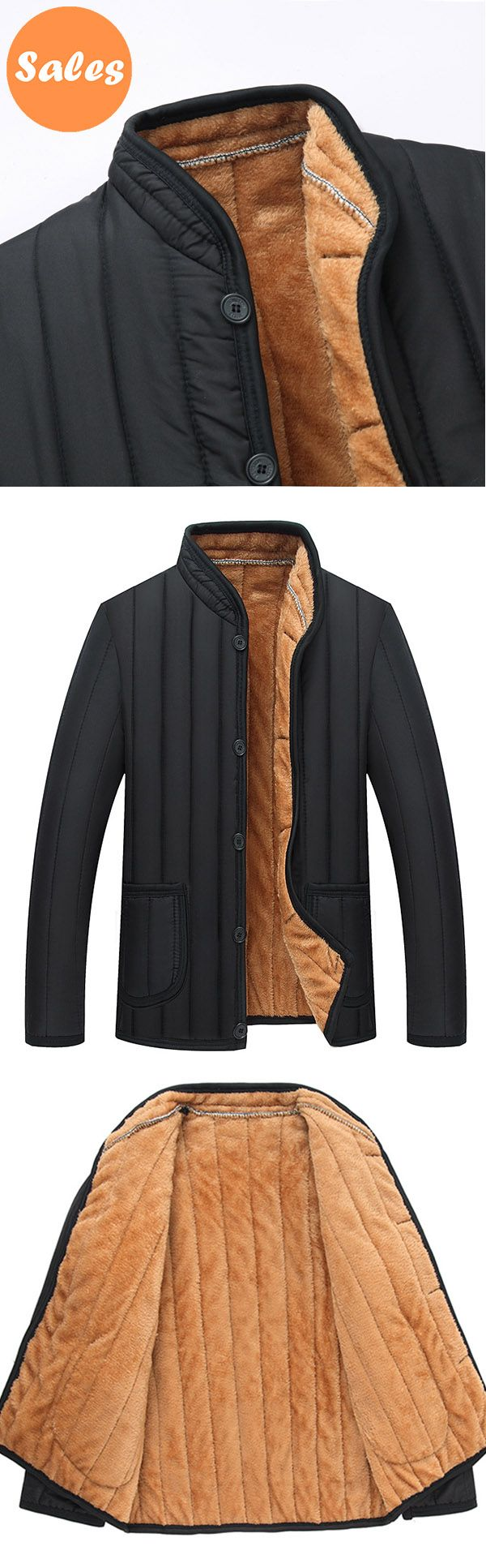 Mens Winter Black Fleece Thick Warm Solid Color Stand Collar Jacket. #men #fashion