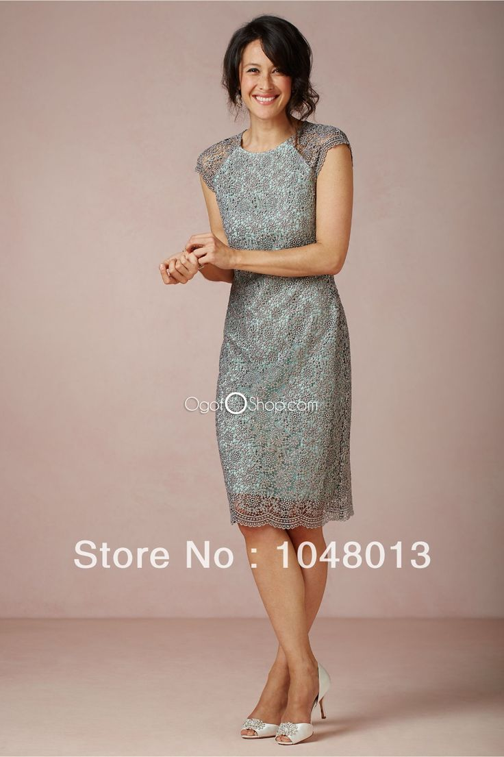 Modest Teal Knee Length Sheath Mother Of The BrideDresses With Short Sleeves lace Dresses Cheap Free Shipping-in Mother of the Bride Dresses from Apparel & Accessories on Aliexpress.com
