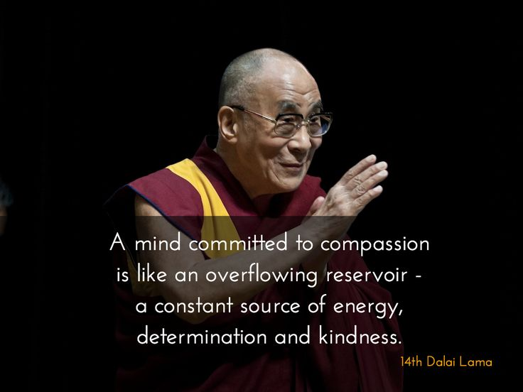 """A mind committed to compassion ~ 14th Dalai Lama http://justdharma.com/s/40ua5  A mind committed to compassion is like an overflowing reservoir - a constant source of energy, determination and kindness.  – 14th Dalai Lama  from the book """"The Heart of Compassion: A Practical Approach to a Meaningful Life"""" ISBN: 978-0940985360  -  https://www.amazon.com/gp/product/0940985365/ref=as_li_tf_tl?ie=UTF8&camp=1789&creative=9325&creativeASIN=0940985365&linkCode=as2&tag=jusdhaquo-20"""