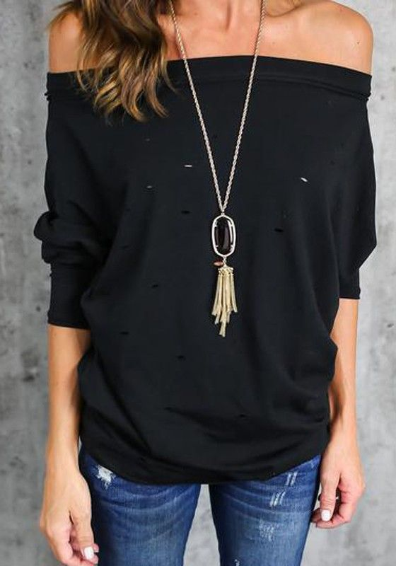 Black Plain Hollow-out Boat Neck Fashion Polyester T-Shirt
