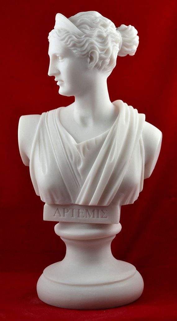 "artemis diana bust greek statue nature moon by marblecreations82 - $15.00 + $11.00 s/h -A top quality statue of Artemis, an exact copy of the famous statue of the Greek National Museum.  statue is made of casted Marble , hand finished at perfection. ~ 6""H"
