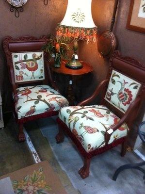 Antique Chairs With Bird Print. Fort CampbellAntique ChairsBird PrintsGreen  VelvetWoodworkSofasGarageWoodworkingCarpentry