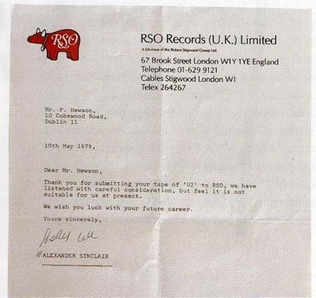A rejection letter from a record company to  U2. Never give up!