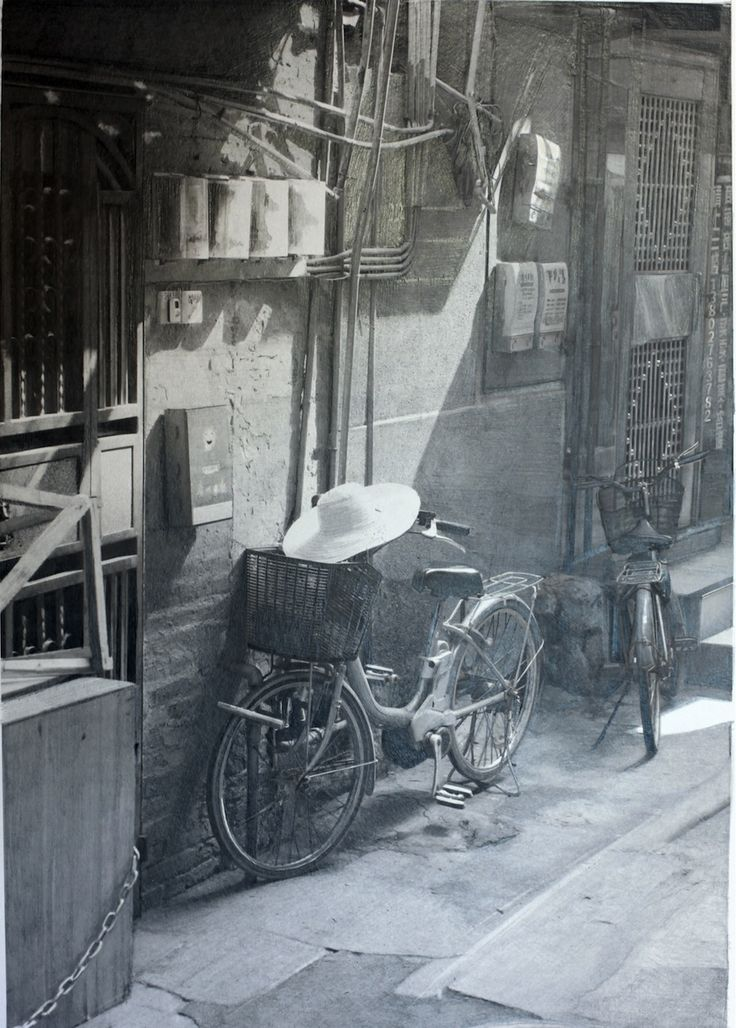 'A Street in Guanzhou' Photorealistic pencil drawing by Paul Cadden