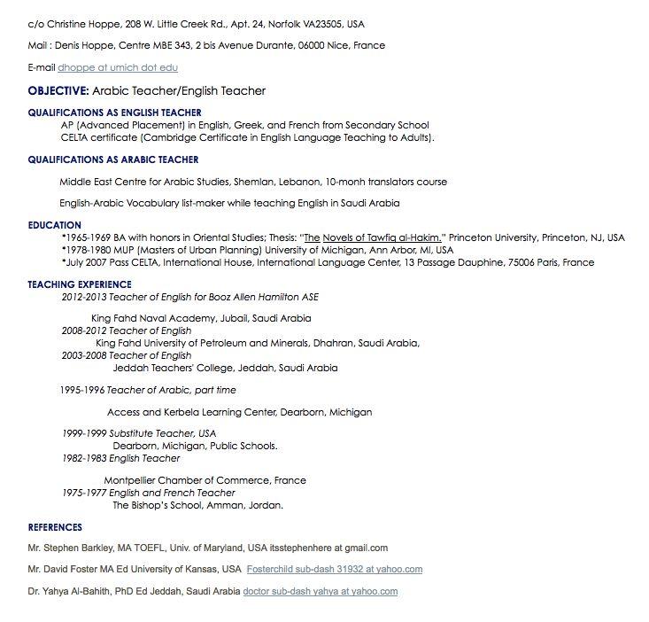 arabic teacher resume sample - http://resumesdesign.com/arabic-teacher-resume-sample/