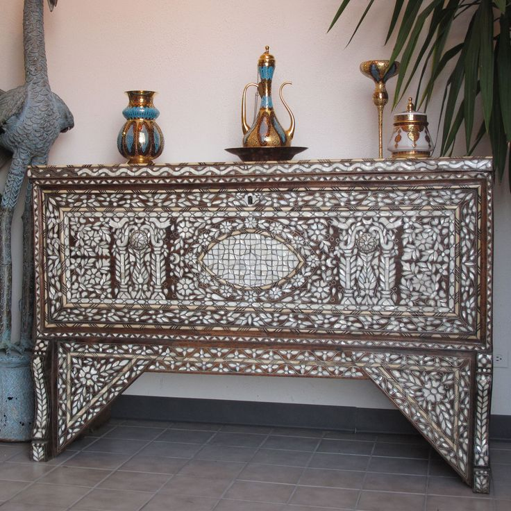 Picture Of Style # 2194   Antique 19th Century Syrian Bridal Chest Inlaid  With Mother Of · Oriental FurnitureMoroccan ...