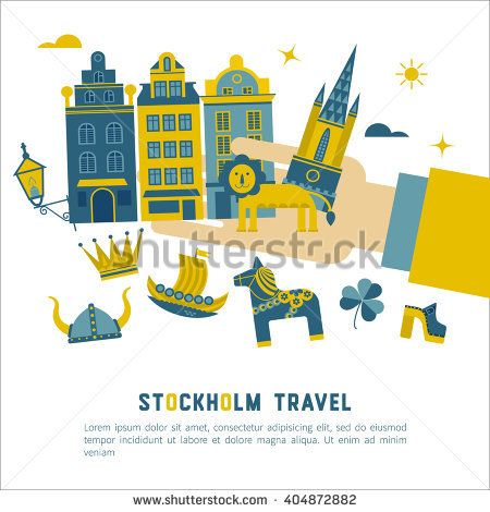 Vector set of characters with elements of Swedish design. Town Hall. A lion. Horse Dala. Vikings. It could be used for greeting cards, invitations, posters, flyers and other printed materials.