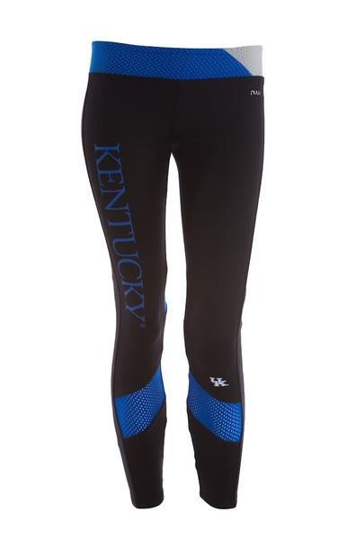 University of Kentucky Mesh Yoga Legging with Insert nuyu's take on a classic yoga legging. Perfect for going to class or the gym. You will show your school spirit from the front and the back while lo