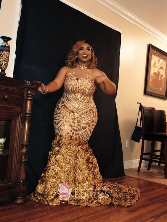 Gold Sequin And 3d Flowers Illusion Halter Mermaid Plus