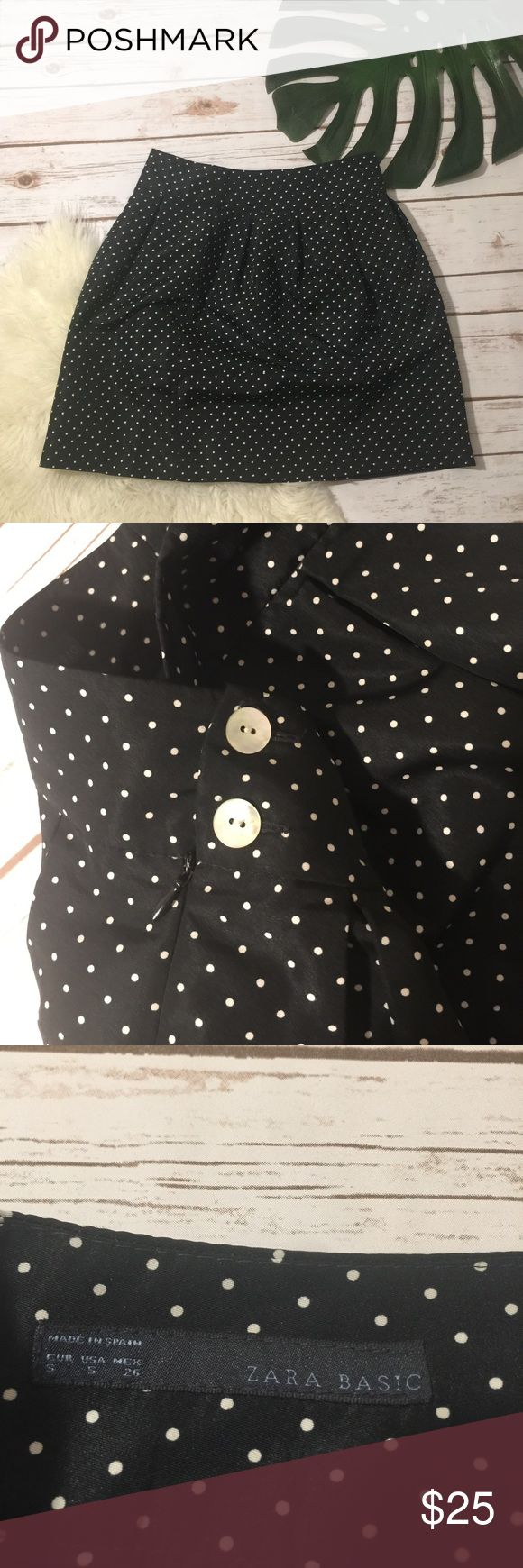 Polka dot Zara mini skirt Black and white polka dotted skirt in very good condition measurements shown in pictures Zara Skirts Mini