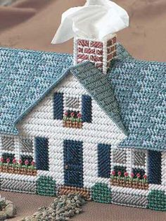 Plastic Canvas - Tissue Topper Patterns - Family-Size Patterns - Window Box Cottage