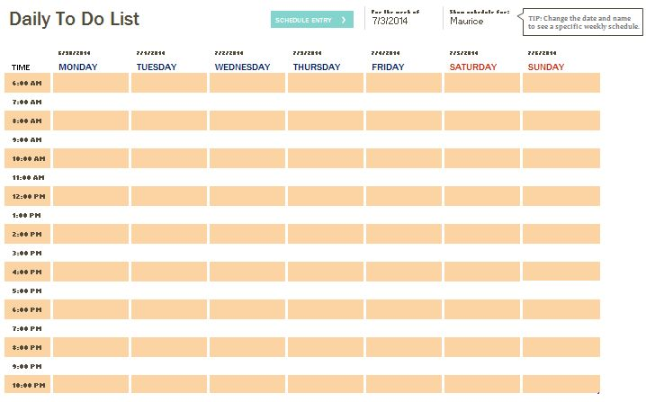 Daily To Do Checklist Template