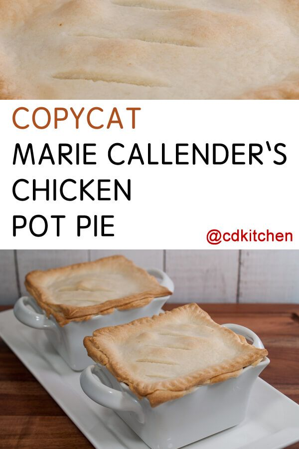 This copycat pot pie recipe is made with chicken, carrots, celery, onion, and peas in a thickened cream sauce that is baked in a homemade pie crust. Delicious!| CDKitchen.com