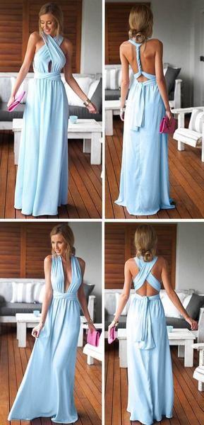 Cheap Simple Convertible Blue Long Bridesmaid Dresses for Summer Beach Wedding Party, WG59