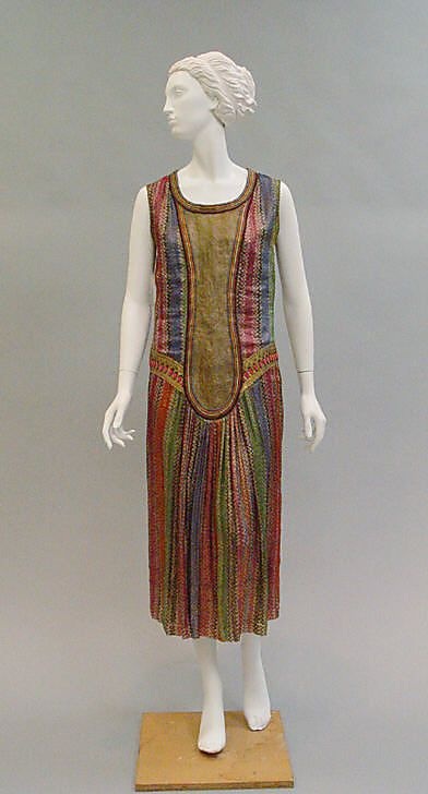 Dress Paul Poiret (French, Paris 1879–1944 Paris) Date: ca. 1925 Culture: French Medium: silk, leather Dimensions: Length at CB: 43 in. (109.2 cm) Credit Line: Gift of Mrs. Kenneth Maconochie, 1951 Accession Number: C.I.51.47