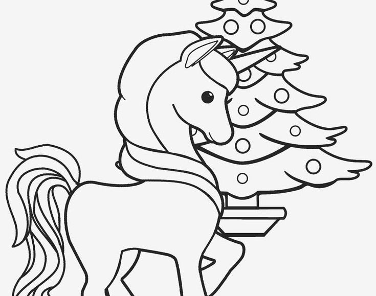 Coloring Pages For Kids Unicorn Christmas in 2020 ...