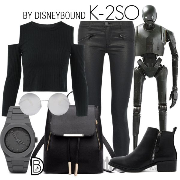 K-2SO by leslieakay on Polyvore featuring Current/Elliott, CC, Victoria Beckham, disney, disneybound and disneycharacter