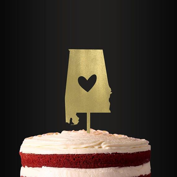 Wedding Cake Topper State Cake Topper Alabama Cake Topper