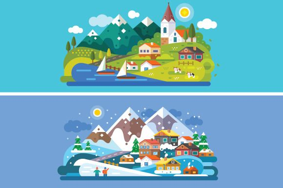 Nice Alps Landscapes. by TastyVector on @creativemarket