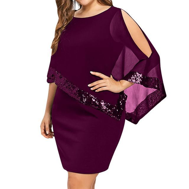 Sexy Sequined Overlay Capelet Dress Women 2019 Party Dresses For